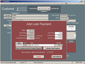 calculates loan payments for used car lots