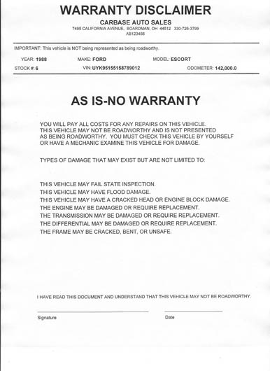 graphic regarding Free Printable as is No Warranty Form referred to as utilized vehicle as is kind -